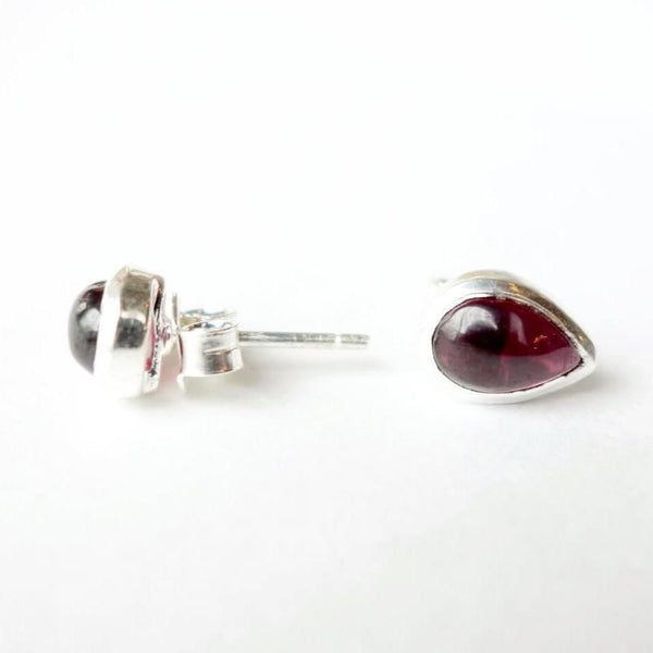 Polished Garnet Post Earrings