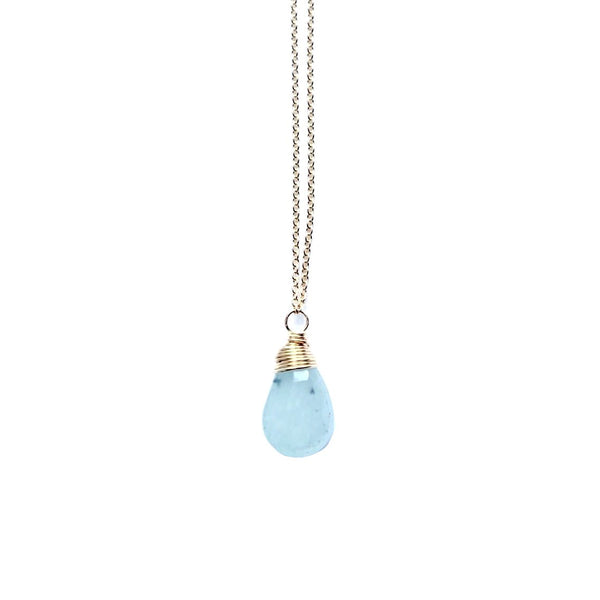 Aquamarine Simple Stone Necklace