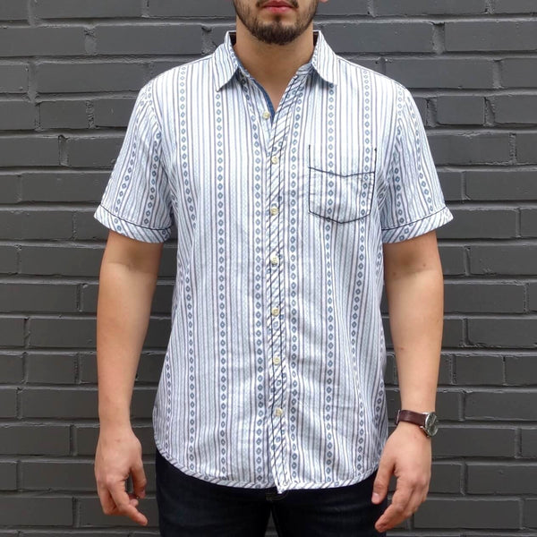 Men's 100% Organic Cotton Dobby Short Sleeve Button Down Shirt