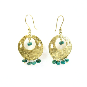 Serrv Turquoise Drop Disc Earrings