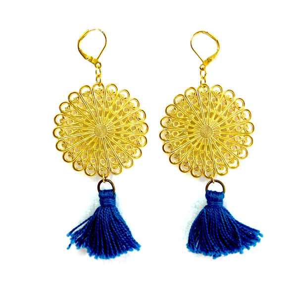 Altiplano Gold Filigree Tassel Earrings