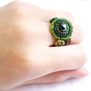 Glass Seed Beaded Ring Handmade in Guatemala