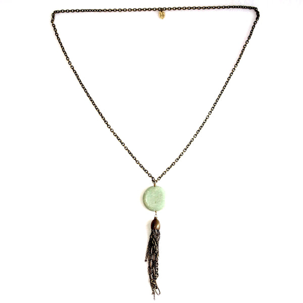Handmade Jasper Disc and Chain Tassel Necklace