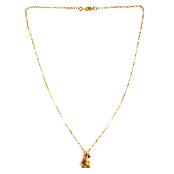 Handcrafted Bronze Buddha Charm Necklace with Gold Plated Chain