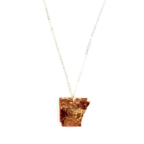 Arkansas State Pendant in Copper with Rose Gold Chain