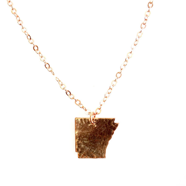 Arkansas State Pendant in Copper