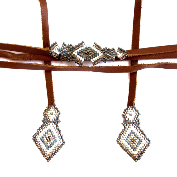 Altiplano Beaded Triangle and Leather Necklace