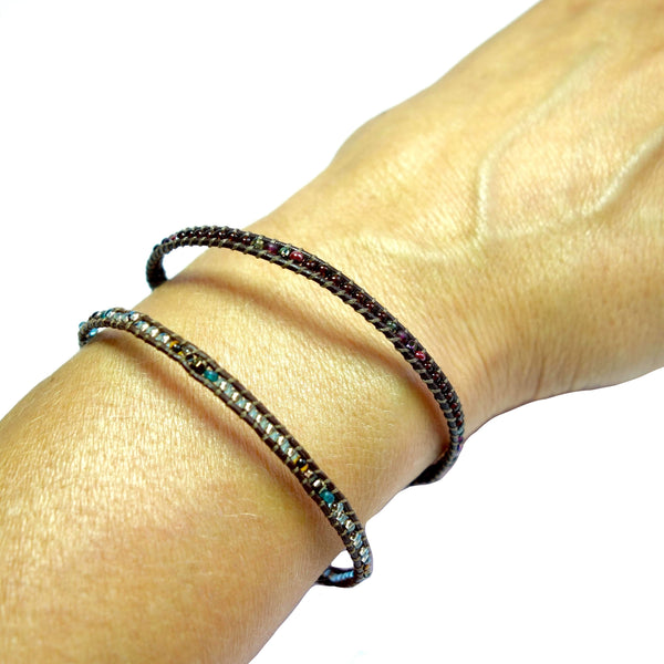 Certified Fair Trade Leather and Seed Beaded Bracelet