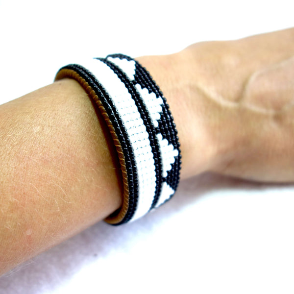Geometric Patterned Beaded and Leather Cuff