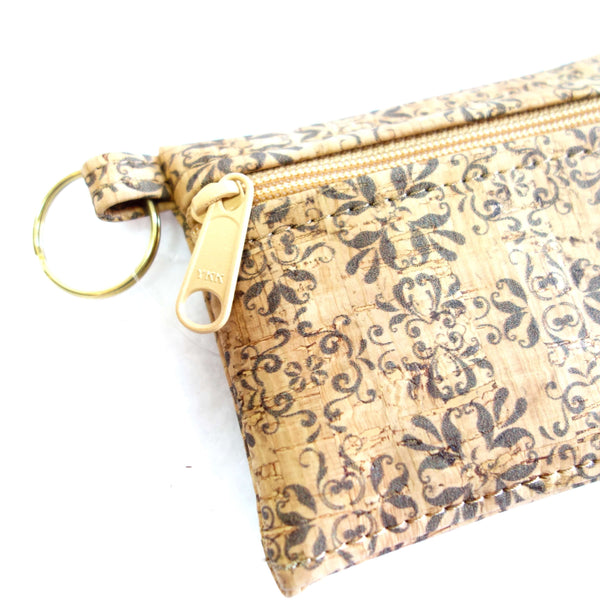 Printed Cork Fabric Key-Chain Wallet Pouch