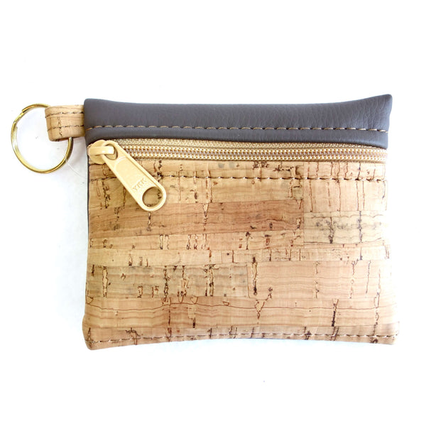 Cork Fabric and Faux Leather Key-Chain Pouch