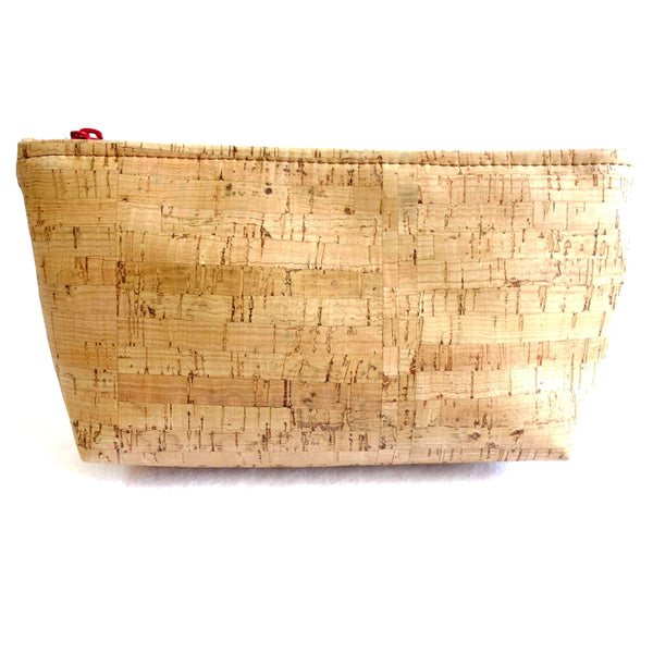 Large Cork Fabric Pouch With Zipper Closure