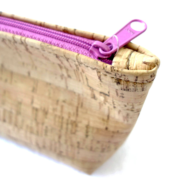 Fully Lined Pouch Made From Real Cork Fabric