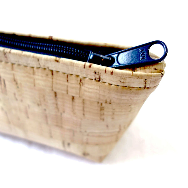 Cork Fabric Pouch With Zipper Closure