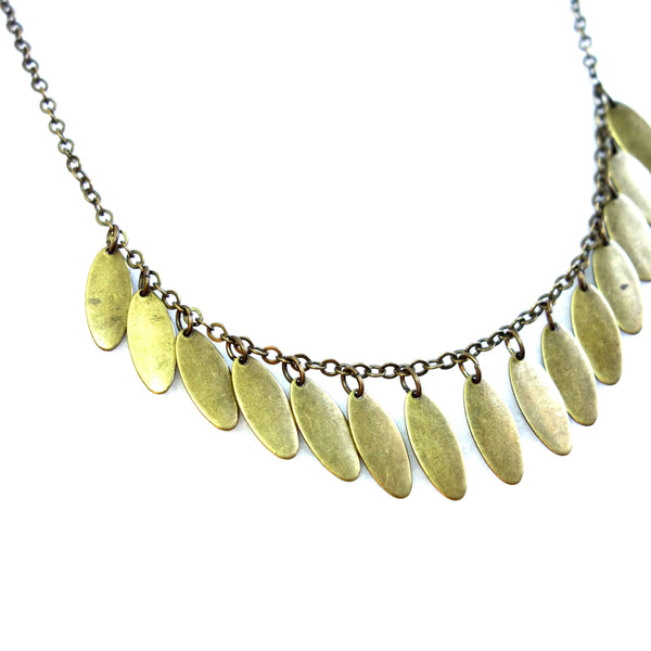 Certified Fair Trade Bronze Fringe Necklace Made in Guatemala