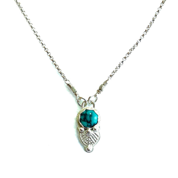 NDesigns Turquoise and Silver Leaf Necklace