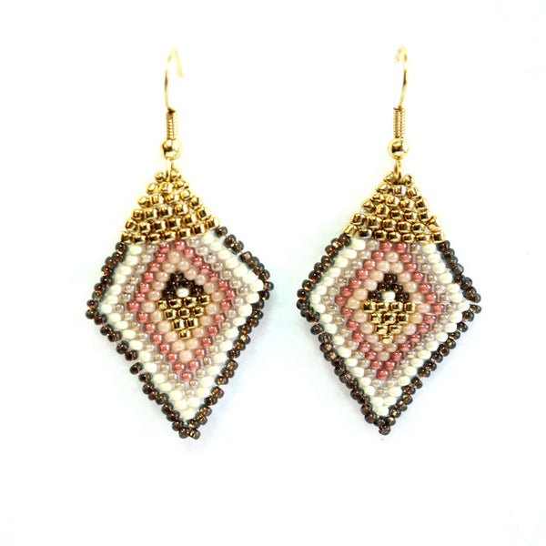 Altiplano Glass Seed Beads Diamond Shaped Earrings