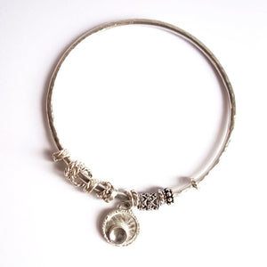 Handmade Sterling Silver and Crystal Charm Bangle Bracelet