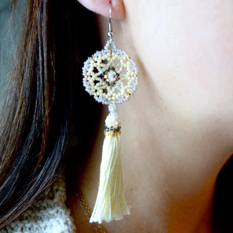 Crochet Beaded Earrings with Yarn Tassels Certified Fair Trade Made in Guatemala