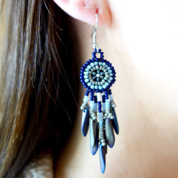 Seed Bead Dream Catcher Earrings Made In Guatemala