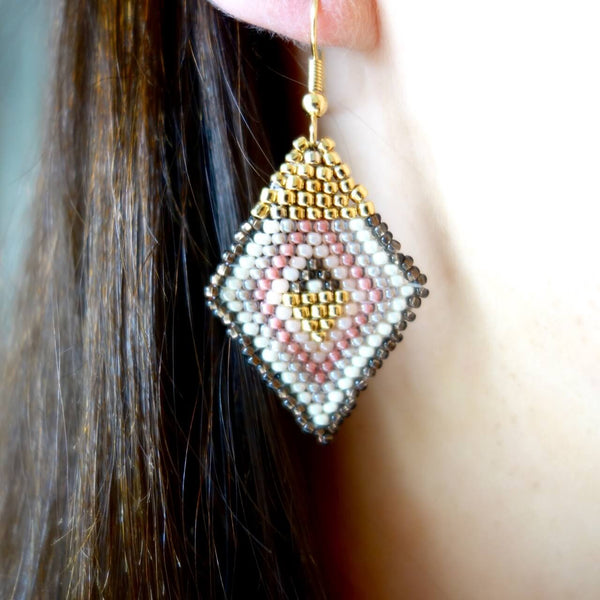 Altiplano Glass Seed Bead Diamond Shaped Earrings Made in Guatemala