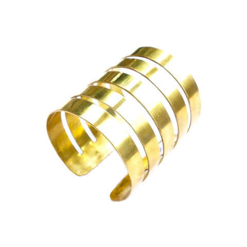 World Finds Wide Brass Cuff