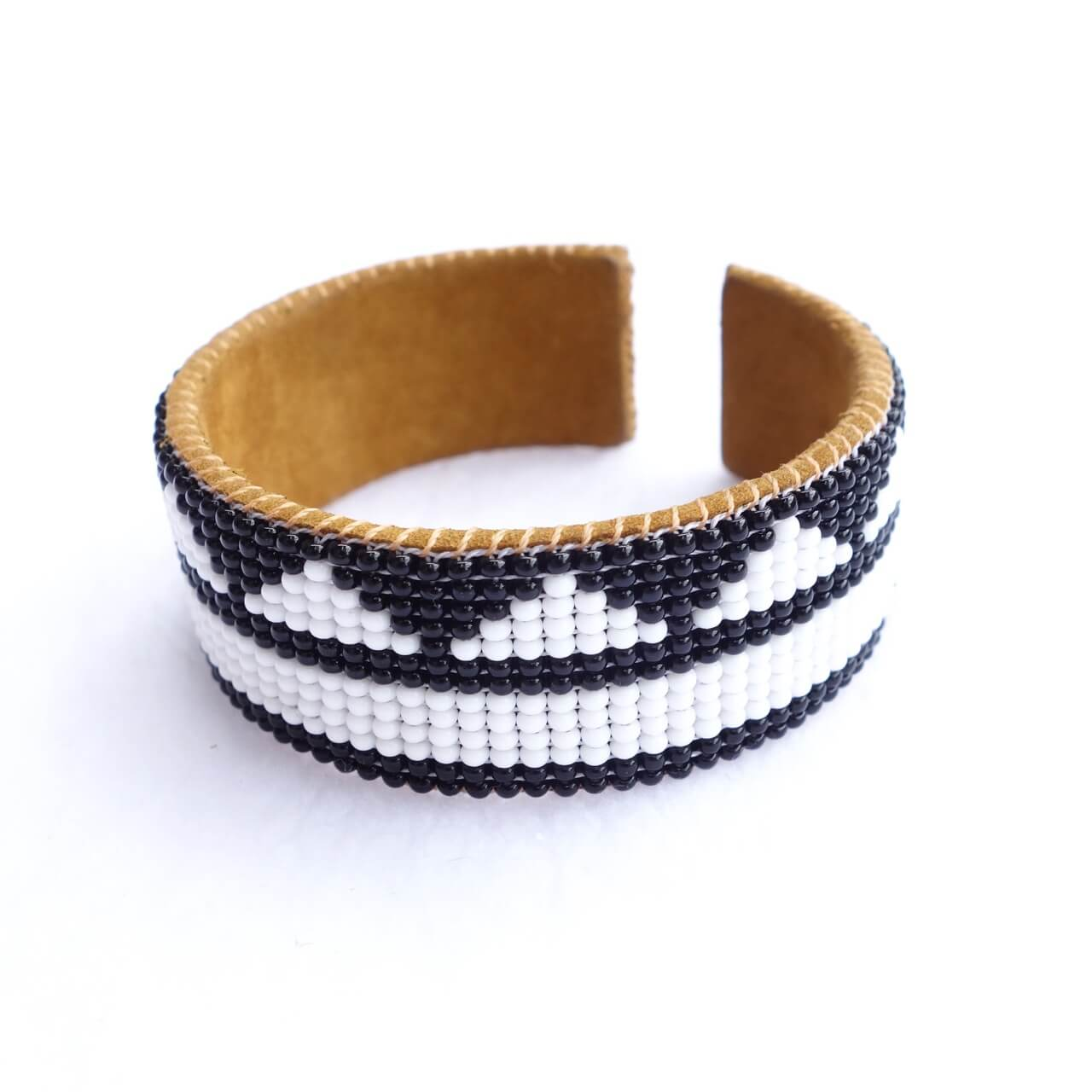 Seed Beads and Leather Cuff Bracelet