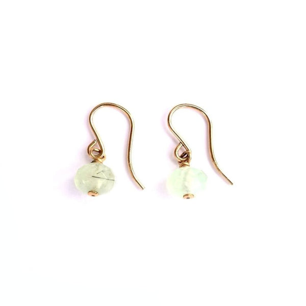 Prehnite Stone With Gold Filled Wire Earrings