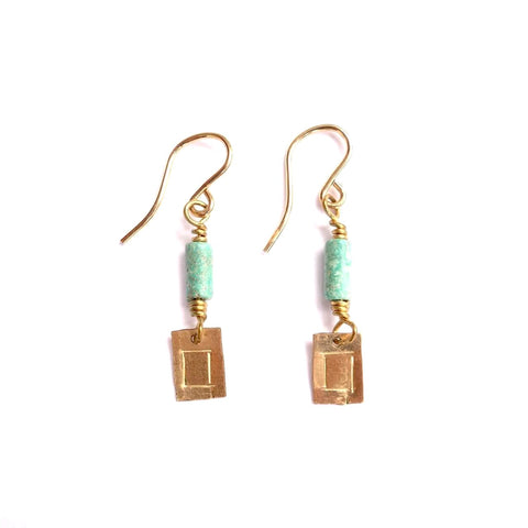 Theresa Wohlfeld Turquoise and Gold Earrings