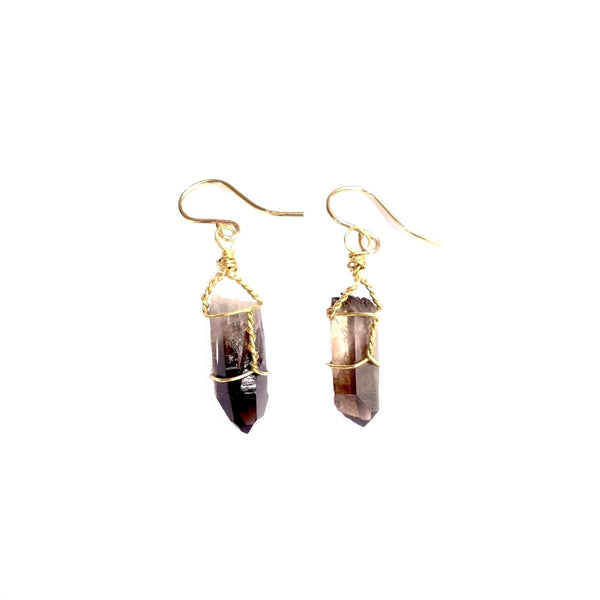Theresa Wohlfeld Smoky Quartz Wire Wrapped Earrings