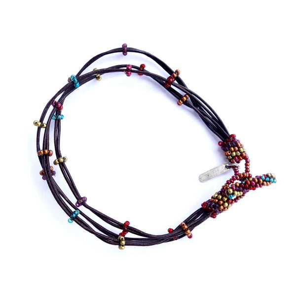 Seed Bead and Leather Anklet