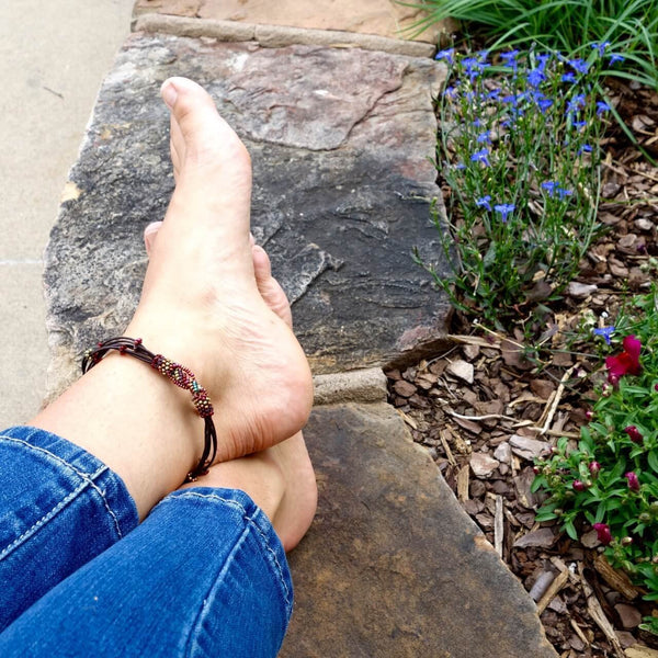 Altiplano Bead and Leather Ankle Bracelet Fair Trade Made in Guatemala