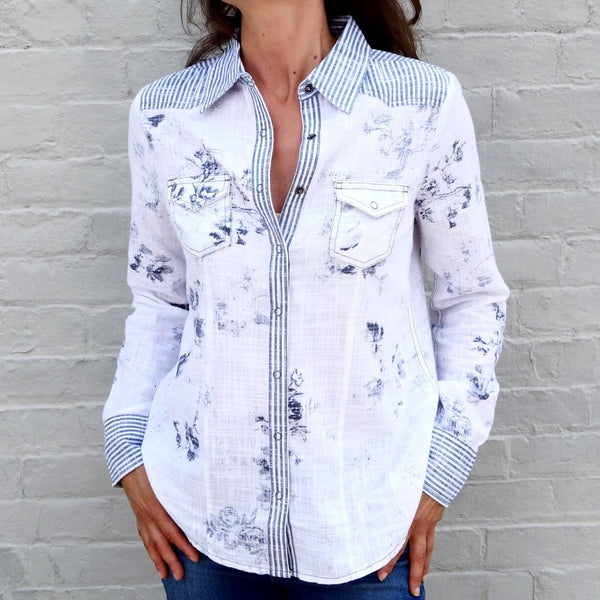 Printed Cotton Button Down Shirt Women's