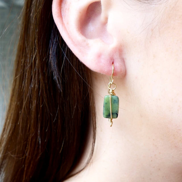 Handmade Jade Stones and Gold Filled Wire Earrings