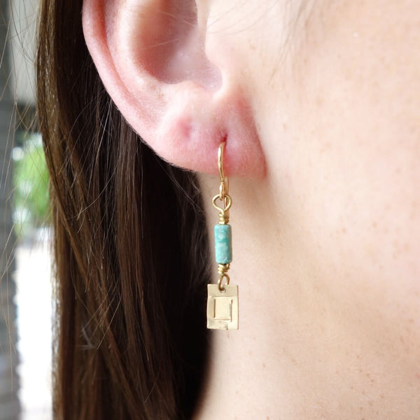 Handmade Turquoise and Gold Earrings