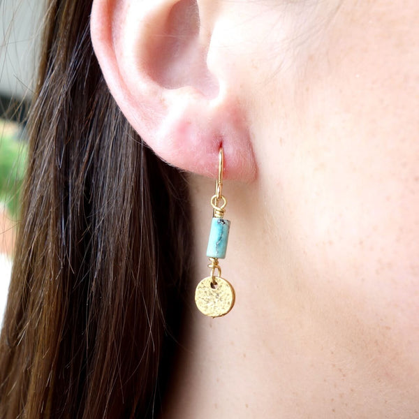 Gold Metal Charms and Turquoise Earrings
