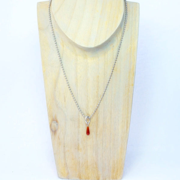 Carnelian Teardrop and Silver Ball Chain Necklace Handmade in Fayetteville, Arkansas