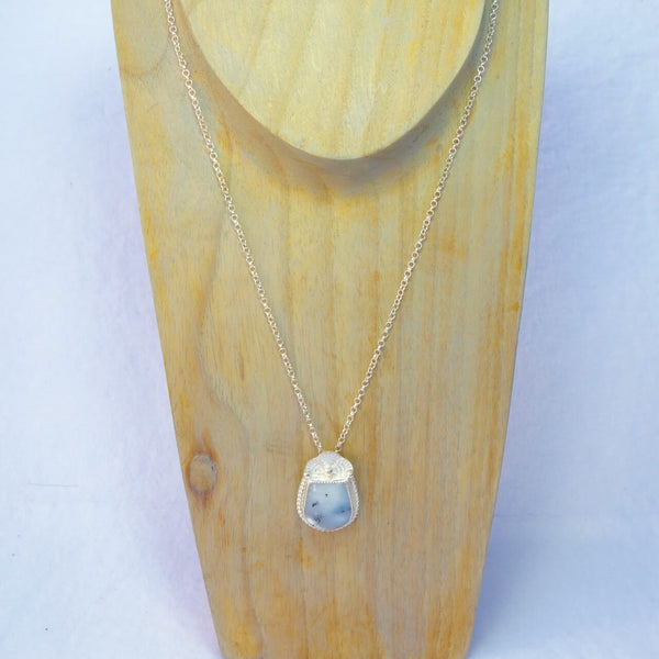 Handmade Sterling Silver and Dendrite Opal Pendant Necklace