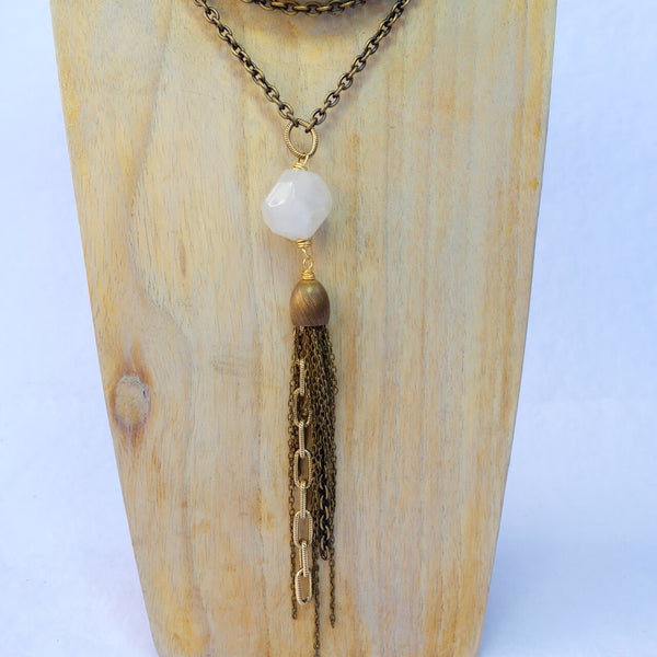 Handcrafted White Quartz and Brass Tassel Necklace