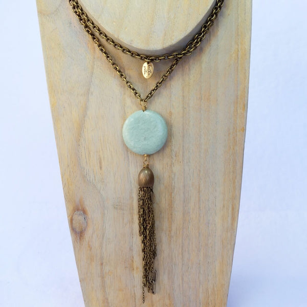 Brass and Jasper Chain Tassel Necklace
