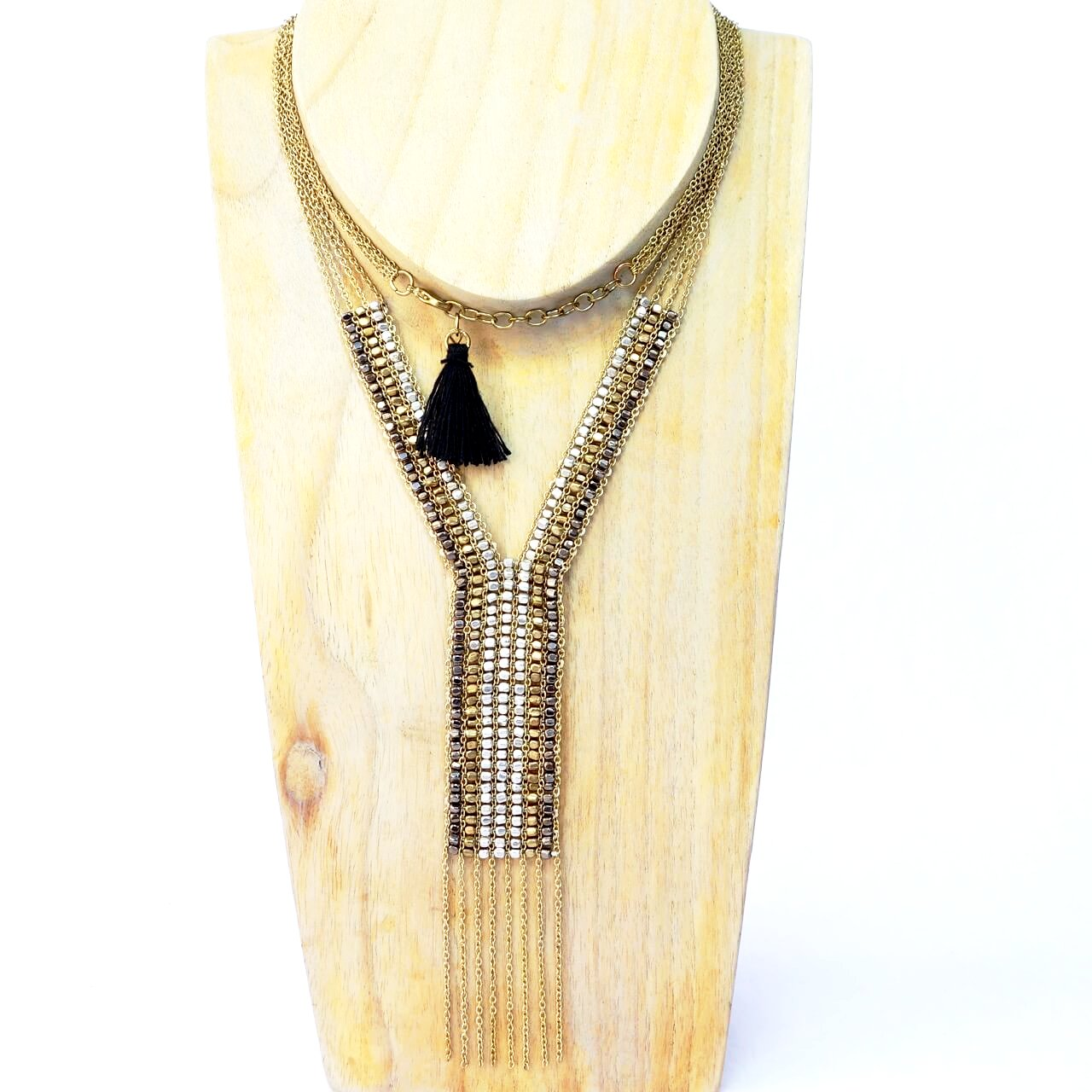 Metallic Bead and Mixed Metal Y Necklace