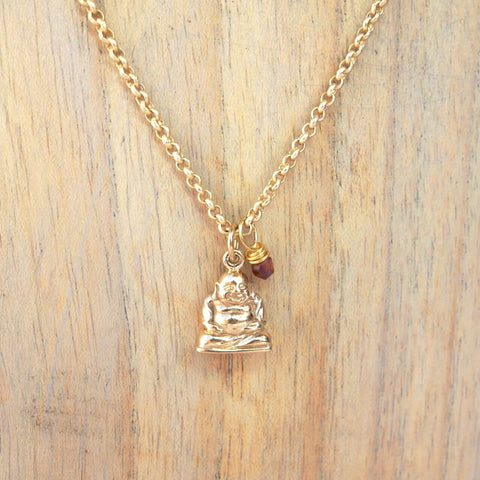 Bella Vita Jewelry Buddha Charm Necklace with Gold Plated Chain Handcrafted in Little Rock, Arkansas