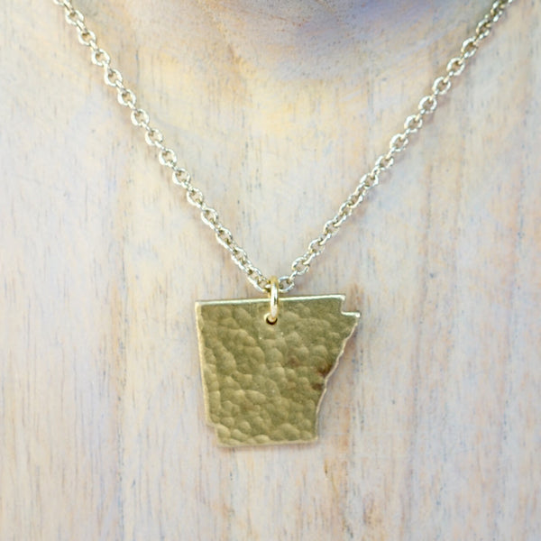 Necklace Cut Into Shape of Arkansas with Matching Chain