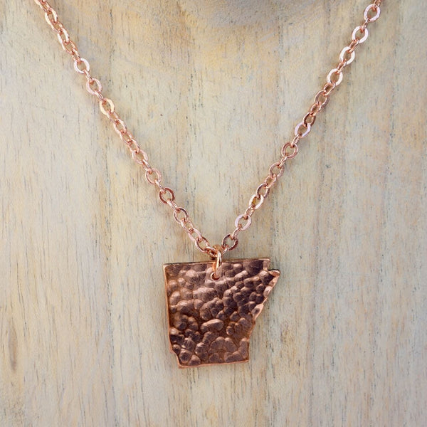 Copper Necklace Cut into the State of Arkansas