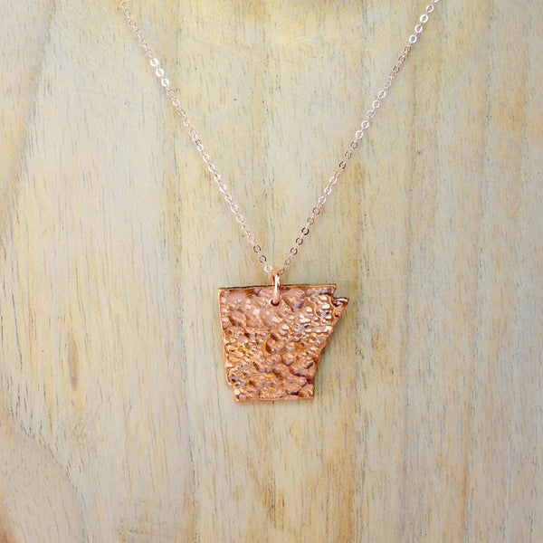 Arkansas Cut Out Necklace in Copper and Rose Gold