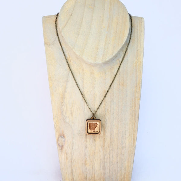 Arkansas State Laser Cut Wood Pendant Necklace