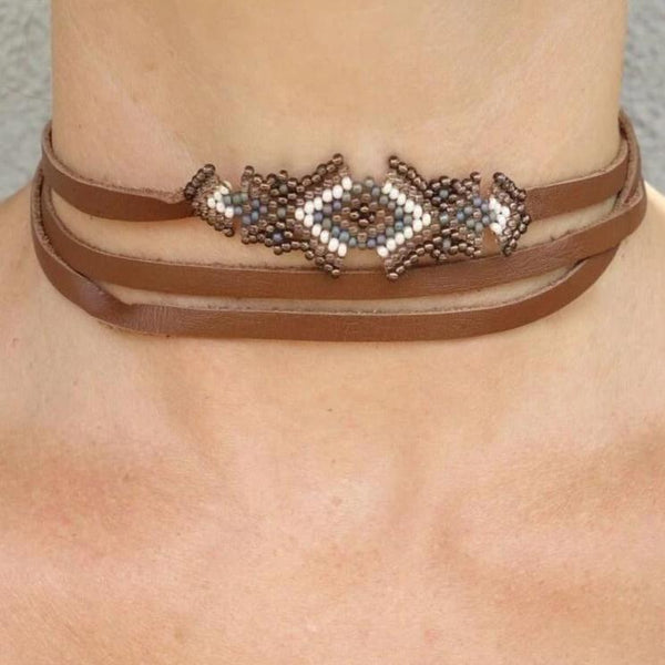 Glass Seed Beads and Leather Choker