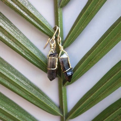 Smoky Quartz Wire Wrapped Earrings