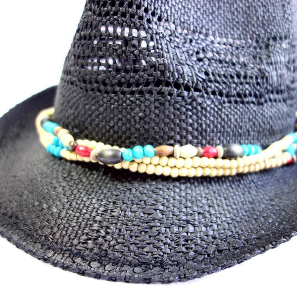 Paper Straw Fedora with Dyed Wooden Beads