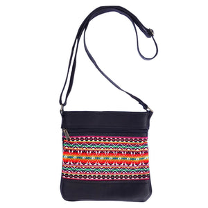 Serrv Leather and Textile Crossbody Bag